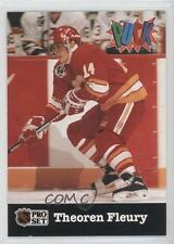 1991-92 Pro Set Puck #4 Theoren Fleury Calgary Flames Hockey Card