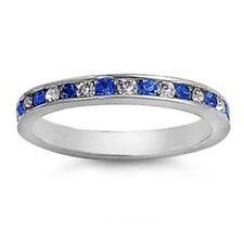 925 Sterling Silver Clear CZ and Blue Sapphire Eternity Band