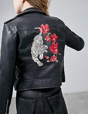 STRADIVARIUS WOMAN NEW FW 2016 EMBROIDERED BIKER JACKET REF:05794002 SIZES:S-L