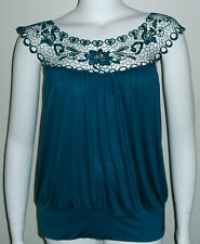 Simply Irresistible Crochet Lace Tank Tunic Top Teal Blue - Plus Size 2X - New!