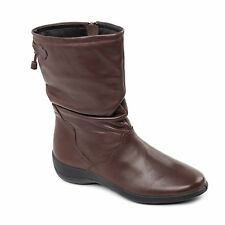 Padders REGAN Ladies Womens Leather Wide Fit Zip Comfort Winter Calf Boots Brown
