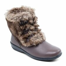 Padders KIM Ladies Womens Leather Extra Wide Fit Faux Fur Winter Boots Brown