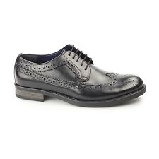 Silver Street London DOWNING Mens Leather Lace Up Longwing Derby Brogues Black