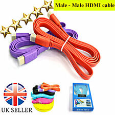 1.8m Flat High Speed male to male HDMI Cable v1.4 Gold Plated HDTV 2160p 3D FHD
