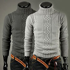 Mens Casual Winter Knitted Polo Roll Turtleneck Pullover Fit Sweater Jumper Tops