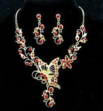 Wedding Crystal Rhinestone Butterfly Pendant Necklace & Earrings Jewelry Sets