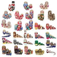 Set of Hand Painted Wooden Russian Nesting Doll Matryoshka Kids Toy Home Decor
