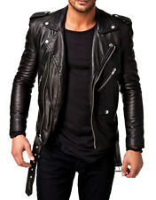 New Men's Genuine Lambskin Leather Jacket Slim fit Biker Motorcycle jacket-MX12