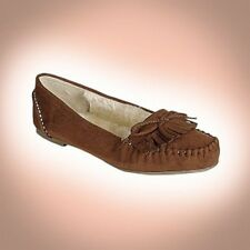 NEW PARRY-S  FAUX SUEDE,FAUX FUR LINING FLAT SLIP-ON MOCCASIN