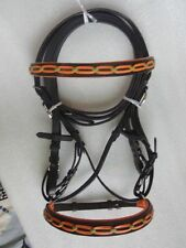 Yesrd Genuine Leather Horse Cross Over Bitless Bridle with Reins LBB- 01