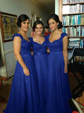 Royal Blue Chiffon Corset Long Bridesmaids Dress, Formal Prom Dress