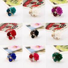 Lady Retro Resin Rose Flower Finger Adjustable Rhinestone Ring Fashion Jewelry