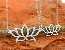Lotus Necklace, Lariat Necklace, Yoga Jewelry-.925 Sterling Silver-Lotus Pendant