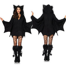 Women Vampire Bat Costume Adult Cosplay Jumpsuit Halloween Fancy Dress Outfit @