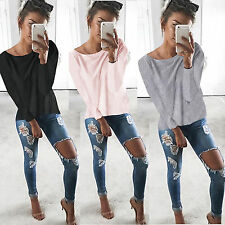 Womens Long Sleeve T-Shirt Blouse Pullover Ladies Casual Tops Sweatshirt Tee New
