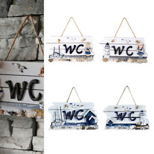CHIC SHABBY NAUTICAL BEACH WOODEN WELCOME SIGN PLAQUE TOILET HOME DOOR WALL DECO