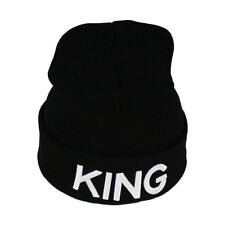 Unisex Couples Casual Winter Warm Knitted King and Queen Letter Beanie Hat Cap