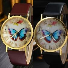 Numerals Stylish Faux Leather Band Wrist Watch Quartz Analog Butterfly Dial