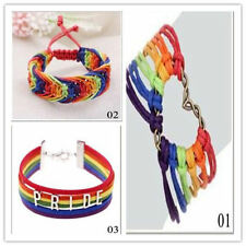 Charm Pride Gay Love Valentine's Gifts Bracelet Braid Rainbow LGBT Flag Lesbian