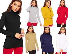 Ladies Pullover Polo Neck Winter Warm Cosy Jumper Knitted Ribbed  Stretch Top