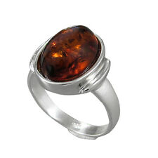 Schmuck-Michel Ladies Ring Sterling Silver 925 Amber 14x10 mm Size 50-65
