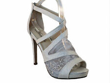 Atrevida womens silver lace mesh peep toe strappy high heel dress sandals