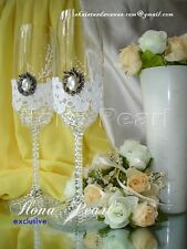 Rustic Lace Gold Wedding Personalized Champagne Toasting Glasses Flutes Pearl