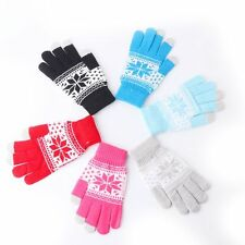 Soft Fashion Men Women Knitted Snowflake Warm Winter  Touch Screen Gloves