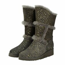 Charcoal Gold Sparkle Tall UGG Boot Made in Australia JUMBUCK UGG Boots 4 Lady
