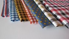 Fabric GINGHAM Wide STRIPES Quality COTTON Print POLKA Dot Quilting CHECK