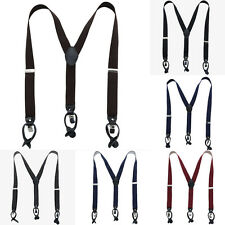 Elastic Womens Leather Button Braces Mens Y-Back Adjustable Clip-on Suspender