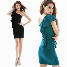 New Womens Sexy One Shoulder Flouncing Bodycon Pleated Mini Dress Cocktail Party