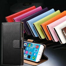 Genuine Leather Cover Flip Card Wallet Stand Case For Apple iPhone 6 6S Plus