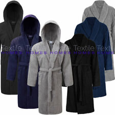 Mens Bath Robe 100% Cotton Terry Towelling Spa Dry Dressing Gown Shawl & Hooded