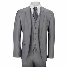 New Mens 3 Piece Suit Plain Grey Classic Tailored Fit Smart Casual Formal Office
