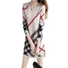 2017 Women Long Sleeve Plaid Dress Casual Beige Mini Tunic Office Dresses