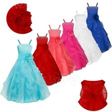 Flower Girl Princess Bridesmaid Wedding Birthday Party Long Dress Ball Gown Kids