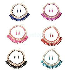 Ethnic Style Spiral Drop Necklace Earrings Fashion Party Boho Jewelry Set 6color
