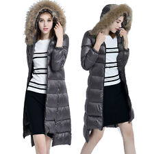 Fashion Womens 90% Duck Down Fur Hooded Puffer Jacket Winter Long Parka Coat