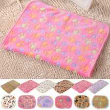 Coral cashmere Pet Small Large Paw Print Cat Dog Puppy Soft Blanket Bed Cushion