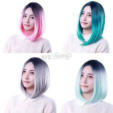 Girls Womens Short Straight BOB Wig Gradient Wigs Sleek Hair For Cosplay Party