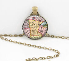 Minnesota Vintage Map Pendant Necklace Jewelry or Key Ring