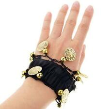 Pair Belly Dance Gold Coin Arm Ankle Cuff Wrist Bracelet Bead Black/Red/Rose Red