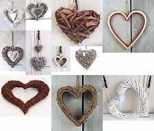 Hanging Heart decorations wicker Wall Shabby chic Large Small