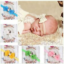 Hot Items Elastic Baby Darling Lace Flower Headband Rose Bow Newborn Hairband