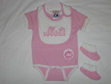 New York Mets Onesie Pink Baby Creeper With Bib And Booties