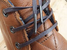 Brown Flat 4mm Waxed Cotton Shoelaces - METAL TIPPED - brouge dress shoe trainer