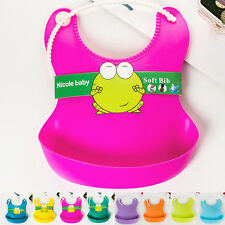 Aprons Feeding Lunch Bibs Saliva Unisex Kids Baby Infant Waterproof Silicone New