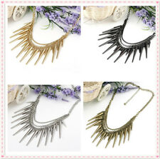 Gothic punk rock Spike Rivet Fringe Tassels Multilayer Chain Necklace