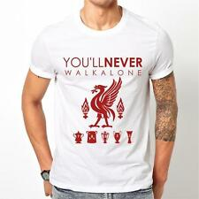 Mens NEW WHITE LIVERPOOL Football Club T SHIRT You never walk alone GIFT